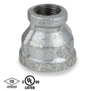 2 in. x 1 in. Reducing Coupling, Galvanized Malleable Iron 150#, NPT Threaded, UL/FM Pipe Fitting