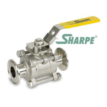 1 in. Stainless Steel Full Tube Port Sanitary 3 Pc. Ball Valve w/ Mounting Pad Series N66