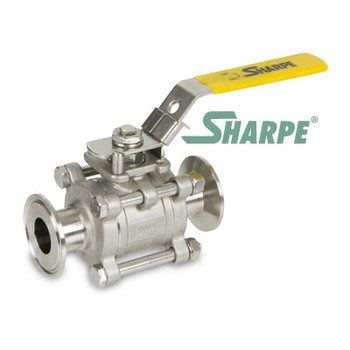 4 in. Stainless Steel Full Tube Port Sanitary 3 Pc. Ball Valve w/ Mounting Pad Series N66