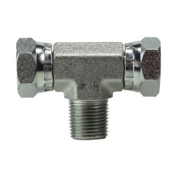 1/8 in. Female NPSM x 1/4 in. Male NPT Steel Male Swivel Branch Tee Hydraulic Adapter