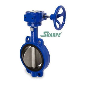 20 in. 200 PSI Ductile Iron Body, Wafer Style Butterfly Valve, 316 Stainless Steel Disc & Stem, EPDM Seat, Gear Operated, Sharpe Series 17