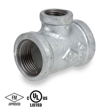 3 in. x 2 in. 150# Galvanized Malleable Iron NPT Threaded Reducing Tee, UL/FM Pipe Fitting