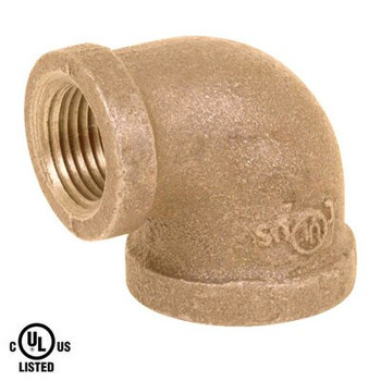 1 in. x 1/2 in. Reducing 90 Degree Elbow - NPT Threaded 125# Bronze Pipe Fitting - UL Listed