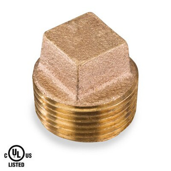 4 in. Square Head Cored Plug - NPT Threaded 125# Bronze Pipe Fitting - UL Listed