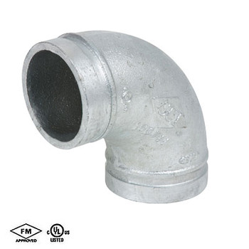 1-1/2 in. Grooved 90° Elbow Standard Radius Galvanized UL/FM 66E COOPLOK Fitting