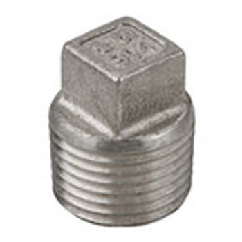 1/4 in. 1000# Stainless Steel Pipe Fitting Square Head Plug 304 SS NPT Threaded