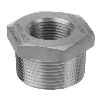 4 in. x 1-1/4 in. 1000# Stainless Steel 316 Barstock Hex Bushing NPT Threaded Pipe Fitting