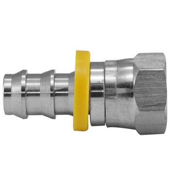 1/4 in. Push-On Hose Barb x 1/4 in. Female 45/37 Swivel, 150 PSI Max Pressure Rating 316 Stainless Steel Fitting
