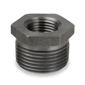 1 in. x 3/4 in. Merchant Steel Threaded Black Hex Bushing 150# Pipe Fitting