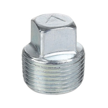 1 in. Threaded Galvanized Steel Merchant Square Head Plug 150# Pipe Fitting
