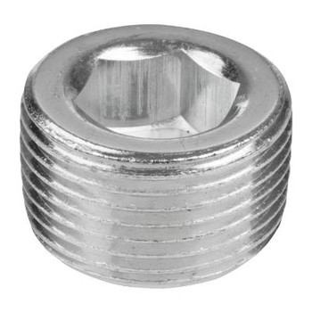 3/8 in. 150# 302 Stainless Steel Bar Stock NPT Short Counter Sunk Hex Plug Pipe Fitting