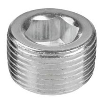 1/2 in. 150# 302 Stainless Steel Bar Stock NPT Short Counter Sunk Hex Plug Pipe Fitting