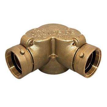 4 in. FNPT x 2-1/2 in. NST Swivel x 2-1/2 in. NST Swivel Rough Brass Siamese FDC Double Clapper 90° Pattern