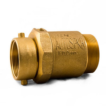 """NST: 2-1/2"""" Swivel x 3"""" MNPT (Polished Brass) Check Snoot for Multiple Inlet Fire Department Connections"""