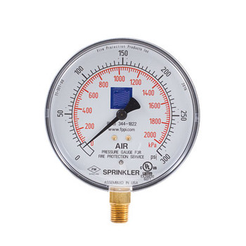 0-300 PSI Fire Sprinkler Air Gauge, cULus/FM Model: FPPI-PG