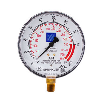 "0/300 PSI Fire Sprinkler Air Gauge with Retard, 4"" Dial, cULus/FM Model: FPPI-PG"