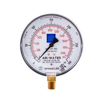 Fire Sprinkler Air-Water Gauge, 0-300psi, Steel Case, cULus/FM