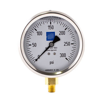 Fire Sprinkler Pressure Gauge, Liquid Filled, 0-300 PSI
