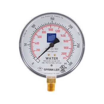 Fire Sprinkler Water Gauge, 0-300 psi, cULus/FM