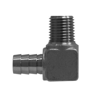 1/4 in. x 1/8 in. (Hose ID x Male NPT) 316 Stainless Steel Hose Barb Elbows Pipe Fitting