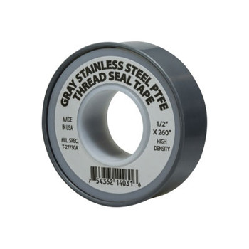 1/2 in. x 260 in. Grey Stainless Steel Teflon PTFE Thread Tape