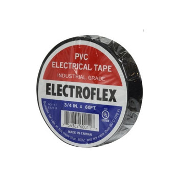 3/4 in. x 60 ft. Black Electrical Tape Industrial Electroflex