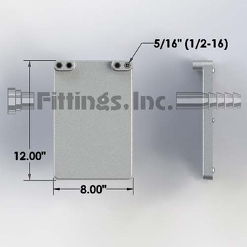 8 in. x 12 in. Dispenser Aluminum Cold Plate: 2 Product Lines with 1/4″ Barbs