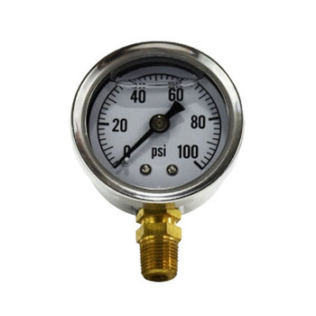 1-1/2 in. Face, 1/8 in. Lower Mount, 0-100 PSI, Liquid Filled Pressure Gauge (Stainless Steel Case)