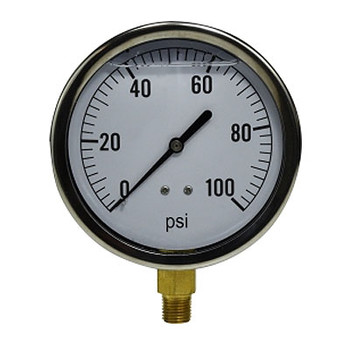 2-1/2 in. Face, 1/4 in. Lower Mount, 0-100 PSI, Liquid Filled Pressure Gauge (Stainless Steel Case)