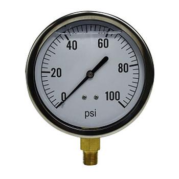 2-1/2 in. Face, 1/4 in. Lower Mount, -30-0 PSI Vacuum Sealed, Liquid Filled Pressure Gauge (Stainless Steel Case)