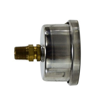 1-1/2 in. Face, 1/8 in. Center Back Mount, 0-60 PSI, Liquid Filled Pressure Gauge (Stainless Steel Case)