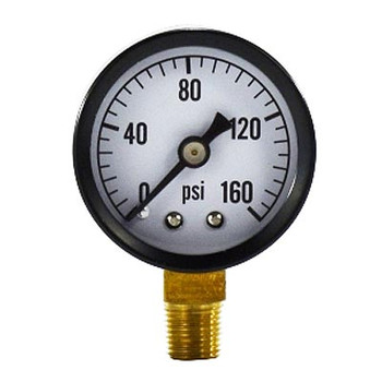 NPT Lower Mount, 0-15 PSI, Standard Dry Pressure Gauge (Steel Case)