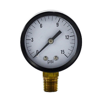 2 in. Face, 1/4 in. NPT Lower Mount, 0-15 PSI, Standard Dry Pressure Gauge