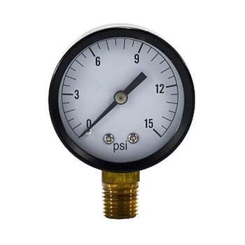 2 in. Face, 1/4 in. NPT Lower Mount, 30-0 PSI Vacuum, Standard Dry Pressure Gauge (Steel Case)