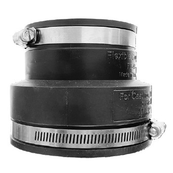 4 in. x 1-1/2 in. Flexible Rubber Reducing Coupling (Stainless Steel Band)