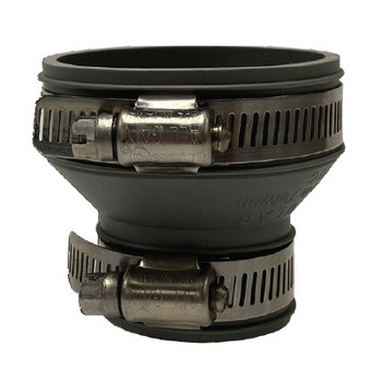 2 in. x 1-1/2 in. Flexible Rubber Trap & Drain Reducing Coupling - Gray (Stainless Steel Band)