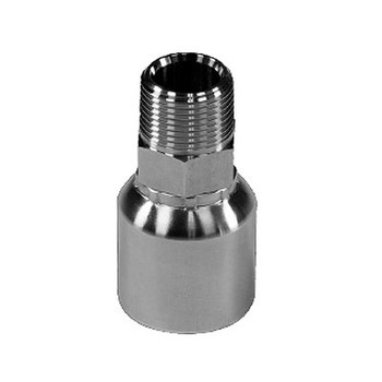 3/8 in. Hose x 3/8 in. MNPT Straight Male NPT Hose - Rigid 316 Stainless Steel Male Crimp Hose Fittings