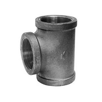 1/4 in. Straight Tee 150# Black Malleable Iron Pipe Fitting - Domestic - UL/FM
