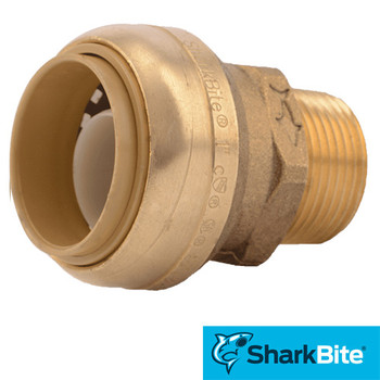 SharkBite - Plumbing 1 in. x 3/4 in. MNPT Reducing Shark Bite Push-Fit Male Adapter - Lead Free Brass
