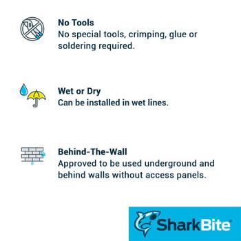 Benefits - 1 in. x 1 in. MNPT Straight SharkBite Push-Fit Male Adapter - Lead Free Brass