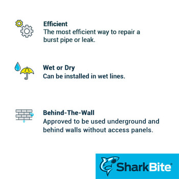 Sharkbite Benefits - Repair Slip Couplings - 1/2 in. x 1/2 in. Lead Free Brass - Push Fit