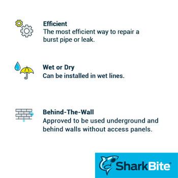 Sharkbite Benefits - Repair Slip Couplings - 1/2 in. x 1/2 in. Lead Free Brass - Push Fit