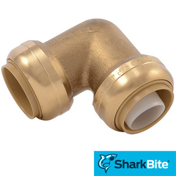 SharkBite Push-Fit 1 in. x 1 in. 90 Degree Elbow  - Lead Free Brass Plumbing Fitting