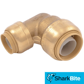 3/4 in. x 1/2 in. 90 Degree Reducing Elbow SharkBite Push-Fit - Lead Free Brass Plumbing Fitting