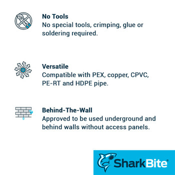 SharkBite Benefits - Tee Push-Fit - Lead Free Brass Plumbing Fitting - U362LF