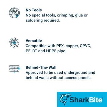 SharkBite Benefits - Tee Push-Fit - Lead Free Brass Plumbing Fitting - U362LF