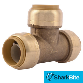 SharkBite Tee Push-Fit Lead Free Brass Plumbing Fitting - 3/4 in. x 3/4 in. x 3/4 in.
