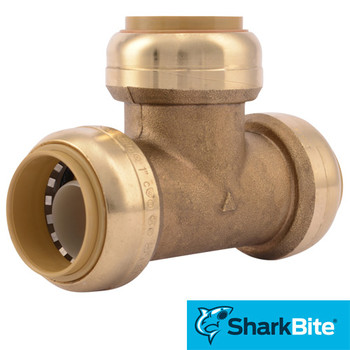 SharkBite Tee Push-Fit Lead Free Brass Plumbing Fitting - 1 in. x 1 in.  1 in.