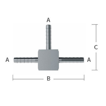 7/16 in. x 2.45 in. OAL Barb Hose Tees 303/304 Combination Stainless Steel Beverage Fitting Drawing