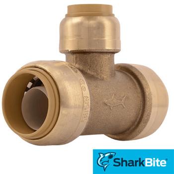 SharkBite Push Reducing Tee - Lead Free Brass Plumbing Fitting 3/4 in. x 3/4 in. x 1/2 in.